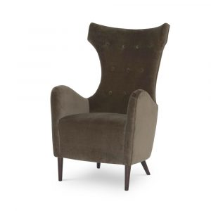Mitchell Hill Curvaceous Wing Chair In Anchovy Velvet