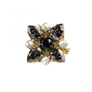 Renascence Heiter Gold & Black Patina Crystal Brooch