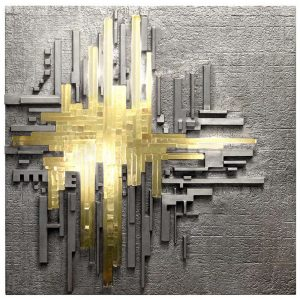 Craig Van Den Brulle Cast Aluminum And Glass Illuminated Wall Sculpture By Poliarte