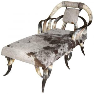 Craig Van Den Brulle Horn & Cowhide Chaise Lounge