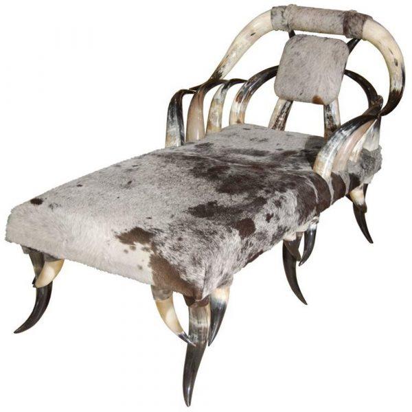 Craig Van Den Brulle Horn & Cowhide Chaise Lounge