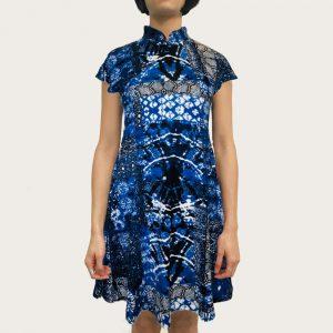 Goods of Desire 'Blue Random' Printed Qipao Dress