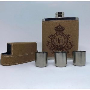 Harlem Haberdashery Leather Flask With Shot Glasses