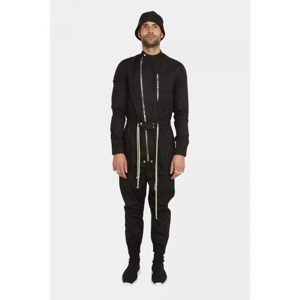 Leclaireur Rick Owens Zipped Black Cotton Jumpsuit