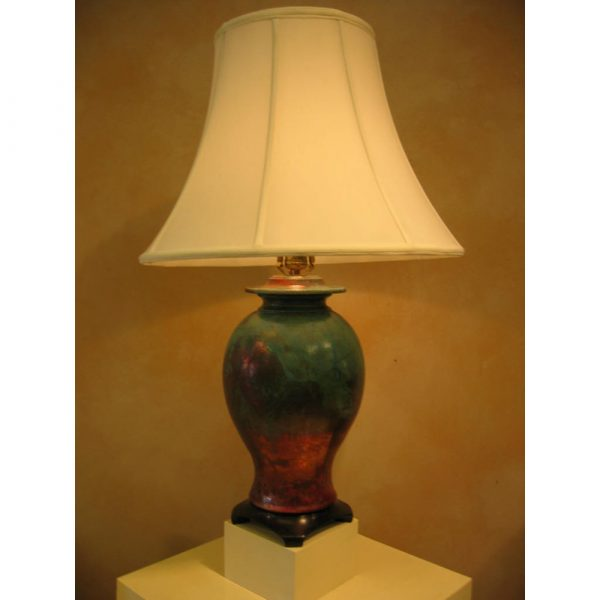 Shadyside Pottery Turquoise And Copper Ginger Jar Lamp